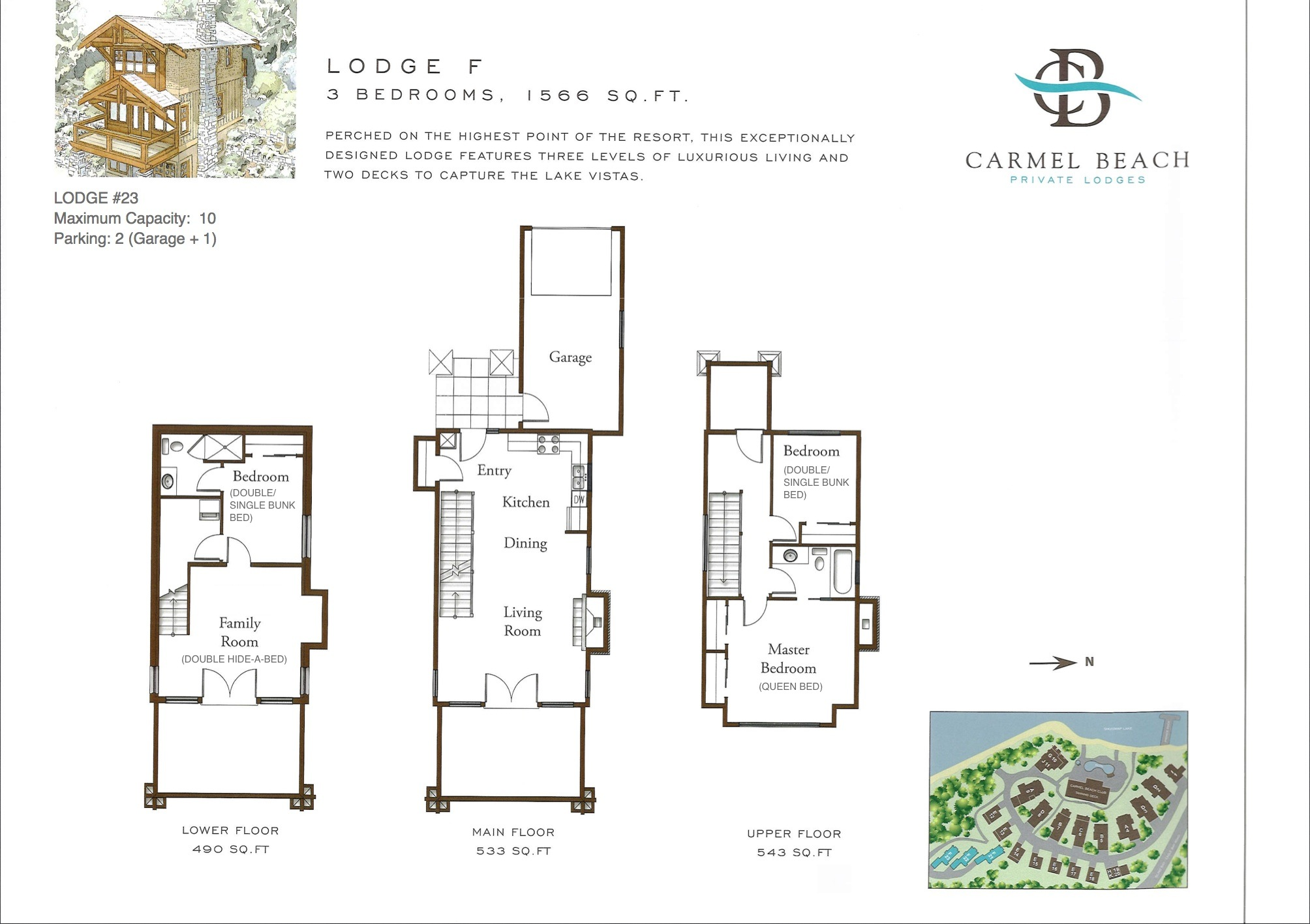 Lodge 23 Floor Plan & Bedding Configuration